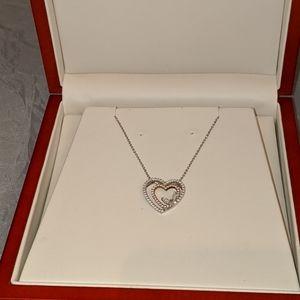 Genuine diamond/24kt white gold necklace